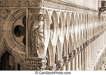 ducal, 宫殿, (, 乌贼, -, 威尼斯, 细节, )