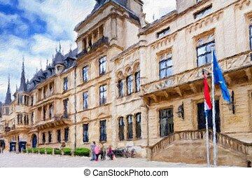 ducal, olaj, city., palota, effect., luxemburg, nagy, festmény