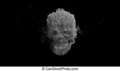 duch, głowa, ożywienie, czaszka, dym