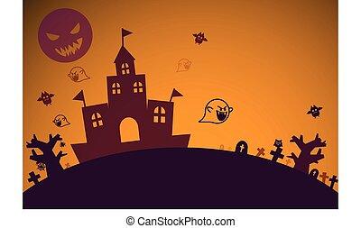 duch, nietoperz, pełny, ilustrator, dom, graficzny, halloween, księżyc, temat, pojęcie, projektować, tło, nawiedzany, poza