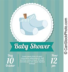 ducha, bebé, diseño, tarjeta, calcetines