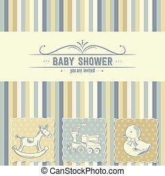 ducha, bebé, retro, tarjeta, juguetes