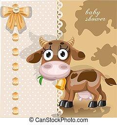 ducha, bebé, tarjeta, delicado, vaca