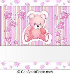 ducha, bebé, tarjeta, oso, teddy
