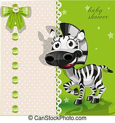 ducha, bebé, verde, zebra, tarjeta
