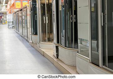 ducha, cabañas, en, el, store., hardware, store., sanitario, ingeniería, shop.