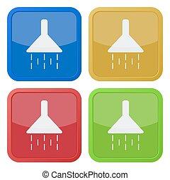 ducha, cuatro, fijar el cuadrado, iconos