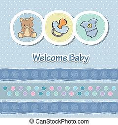 ducha, divertido, animales, tarjeta, bebé