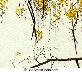 ducha, dorado, hechaa mano, árbol, papel