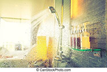 ducha, effect., (, imagen, mientras, agua, ), corriente,...