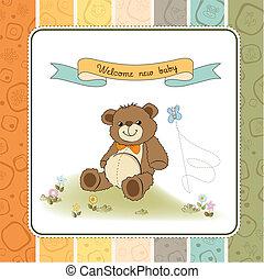 ducha, lindo, bebé, tarjeta, teddy