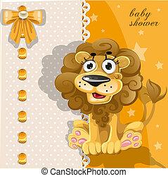 ducha, lindo, león, tarjeta, bebé