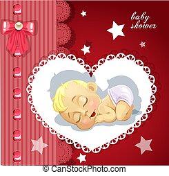 ducha, lindo, tarjeta, rojo, bebé