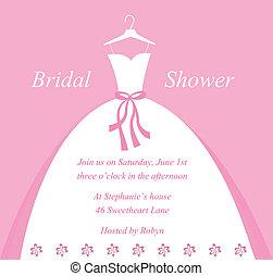 ducha, nupcial, invitación