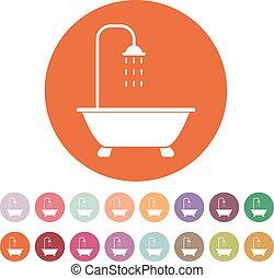 ducha, plano, cuarto de baño, símbolo., icon.
