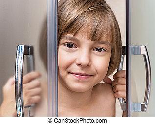 ducha, poco, cuarto de baño, toma, niña