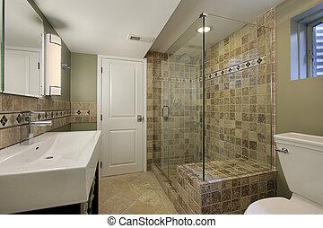 ducha, vidrio, cuarto de baño