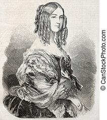 Duchess Nemours - Old engraved portrait of Princess...