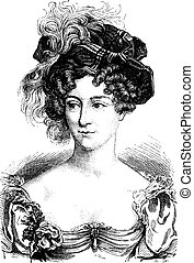 Duchess of Berry, vintage engraving.