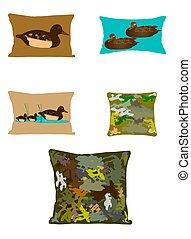 duck and camoflague pillows