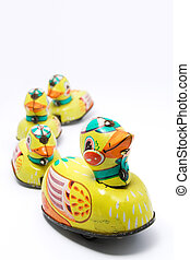 Duck and Ducklings - Wind up tin toy duck with three...