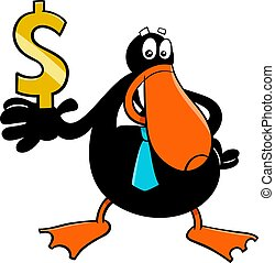 duck businessman cartoon character with dollar sign