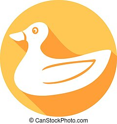duck cartoon flat icon (rubber duck)