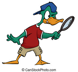 Duck Detective - A cartoon duck searching for some clues...
