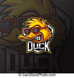 Duck e sport mascot logo design