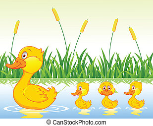 Duck family cartoon - Duck family cartoon