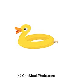 Duck form lifebuoy icon, cartoon style