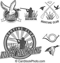 duck hanting - set of vector labels with duck, dip, gun, ...