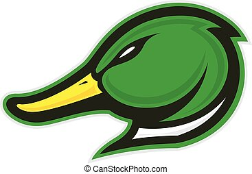 Clipart picture of a duck head cartoon mascot logo character