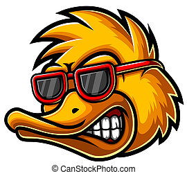 Duck Head Mascot Logo Illustration