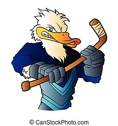 duck hockey player.vector illustration