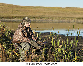 Duck Hunter - A young duck hunter on a nice autumn day