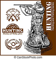Hunter and a dog in a boat - duck hunting. Vector illustration on white.