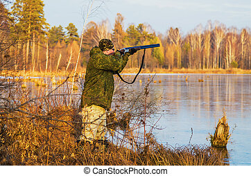 Duck hunting in late autumn