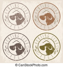 duck hunting retriever negative space grunge labels set