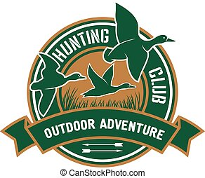 Duck hunting retro badge for hunters club design