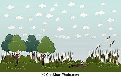 Duck hunting vector flat illustration