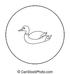 Duck icon in outline style isolated on white background. Hunting symbol stock vector illustration.
