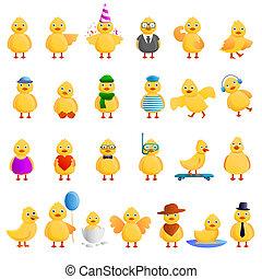 Duck icons set, cartoon style