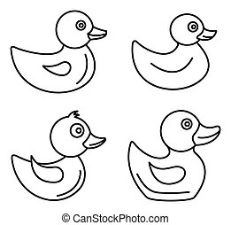 Duck icons set, outline style