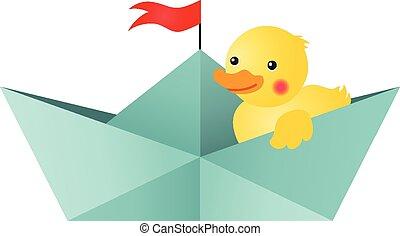 Duck in a boat