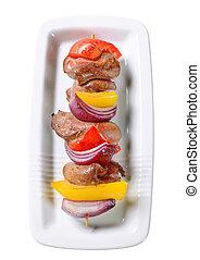 Duck liver shish kebab