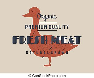 Duck meat. Vector vintage logo, retro print, art icon, poster for Butchery meat shop with text, typography duck, poultry, meat shop, duck silhouette. Butchery logo, meat label template.