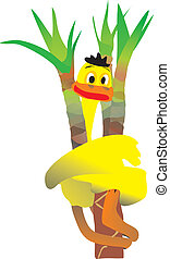 Duck on a palm tree