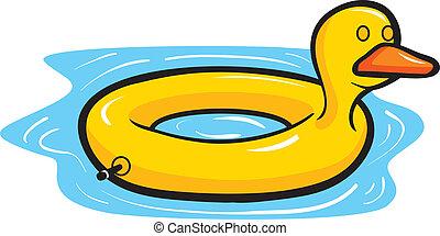 A cartoon yellow duck pool float in water.