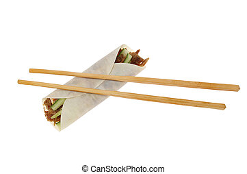 Duck roll and chopsticks